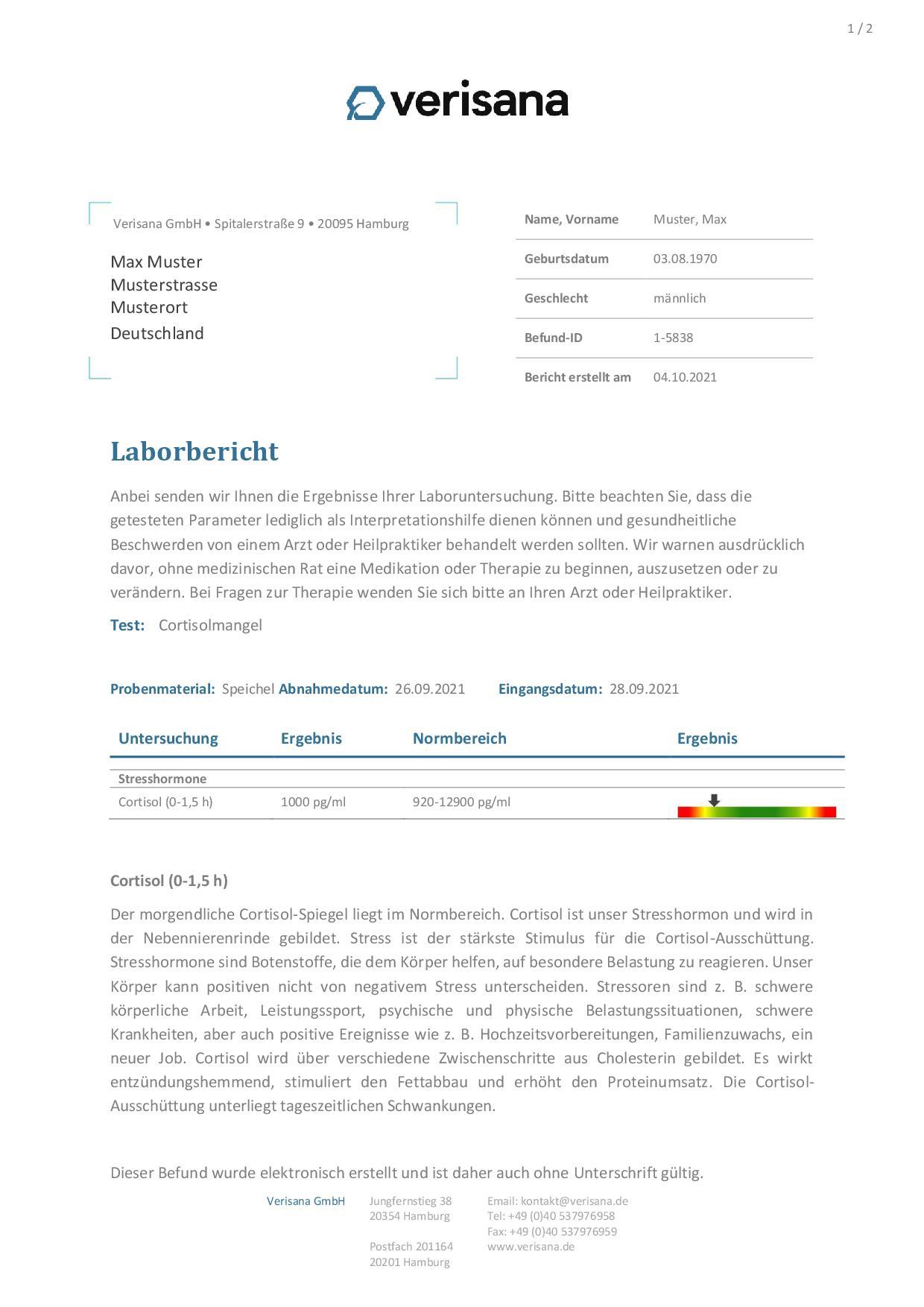 Muster Cortisolmangel