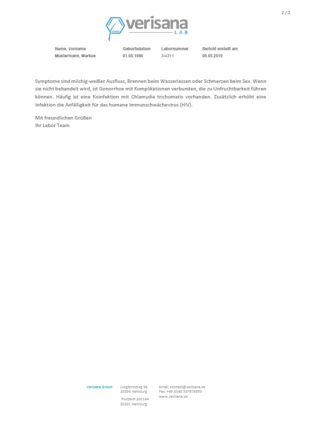 Chlamydien-Gonorrhoe-Test Mann, Labormusterbefund Seite 2