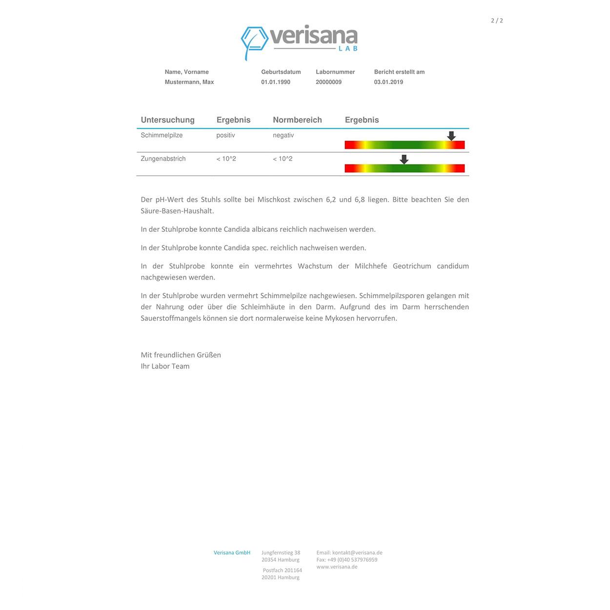 Candida-Test, Labormusterbefund Seite 2