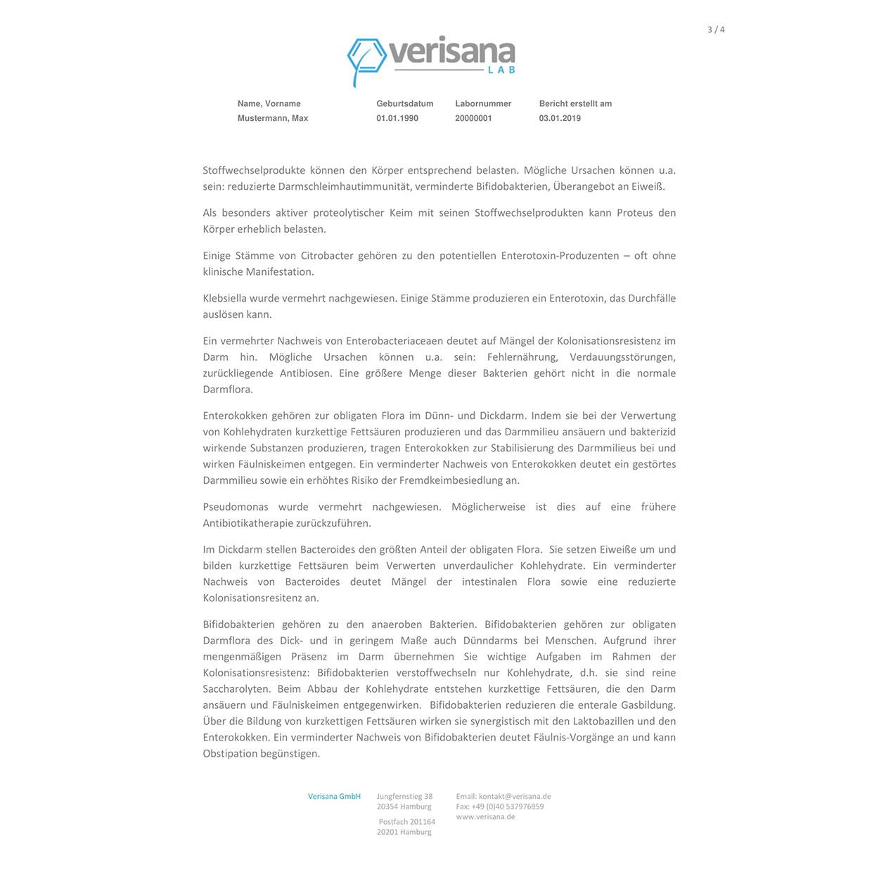 Darmflora-Analyse, Labormusterbefund Seite 3