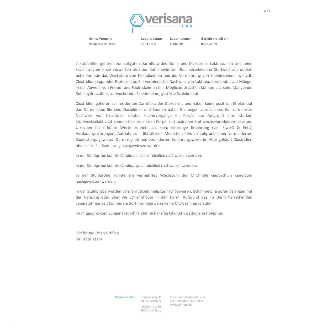Darmflora-Analyse, Labormusterbefund Seite 4