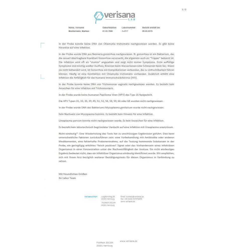 Geschlechtskrankheiten Gesamtstatus Mann, Labormusterbefund Seite 3