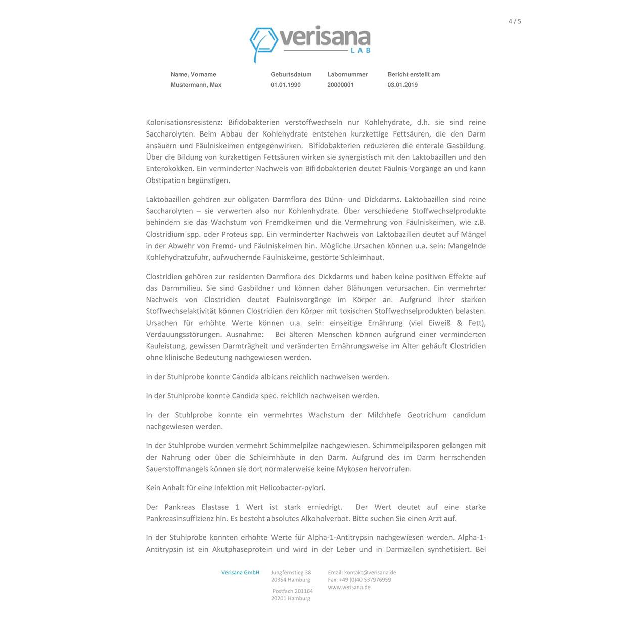 Gesundheitscheck Darm, Labormusterbefund Seite 4