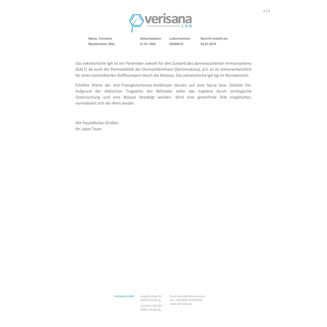 Glutenintoleranz, Labormusterbefund Seite 2