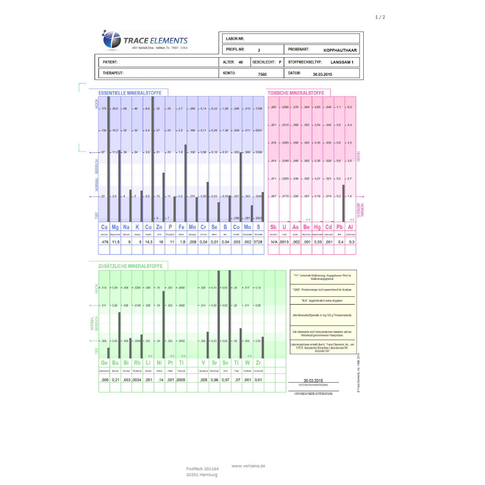 Schwermetalllanalyse, Labormusterbefund Seite 1
