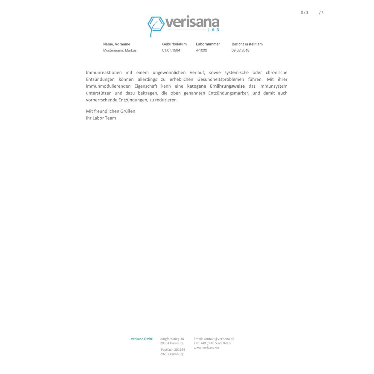 Keto Entzündungsprofil, Labormusterbefund Seite 3