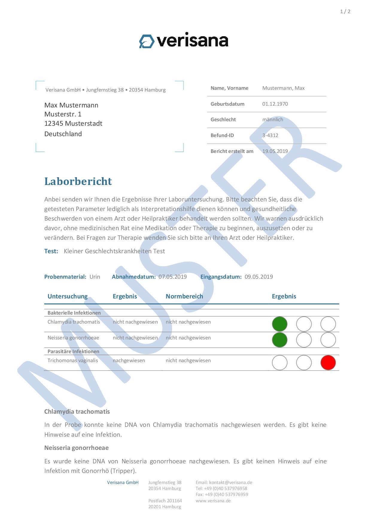 Kleiner Geschlechtskrankheiten Test (Mann) Muster 1