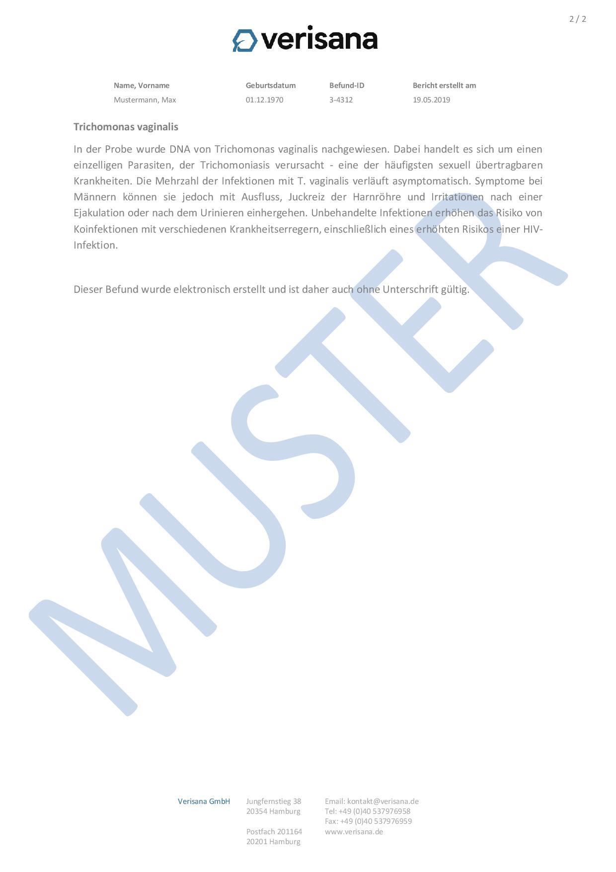 Kleiner Geschlechtskrankheiten Test (Mann) Muster 2