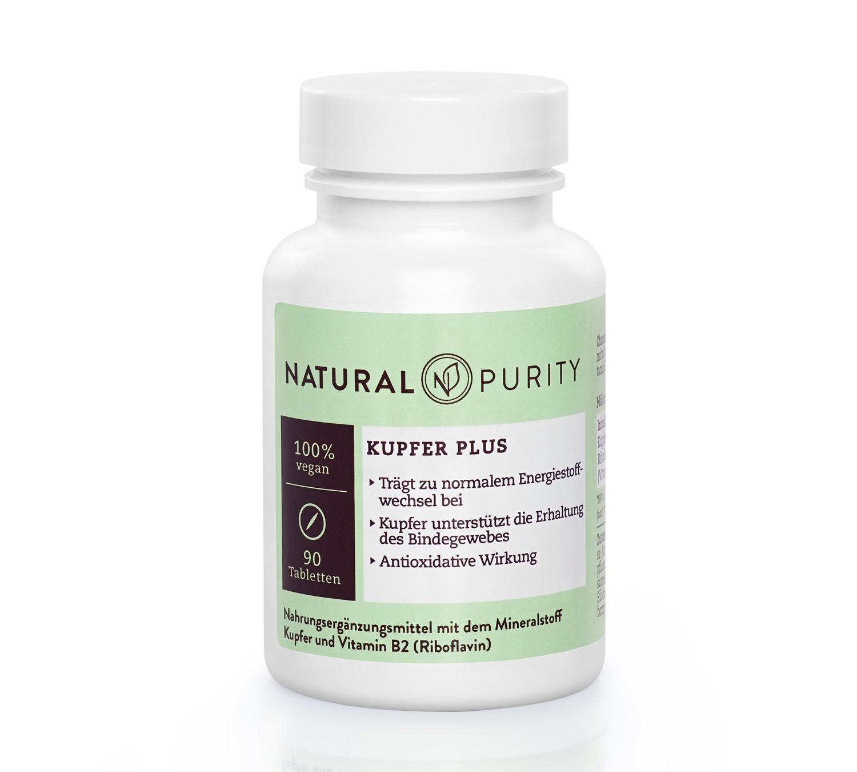 Kupfer Plus, Nahrungsergänzungsmittel zur Unterstützung der Erhaltung von Bindegewebe, Haut und Haaren