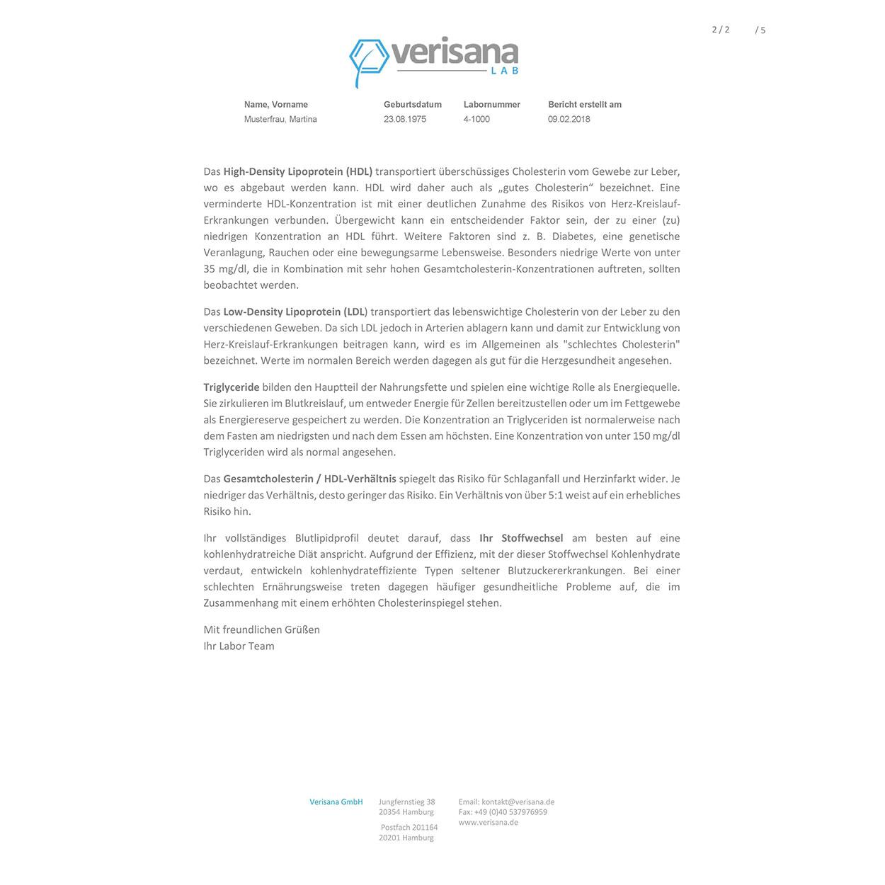 Metabolischer Typ Test, Labormusterbefund Seite 2