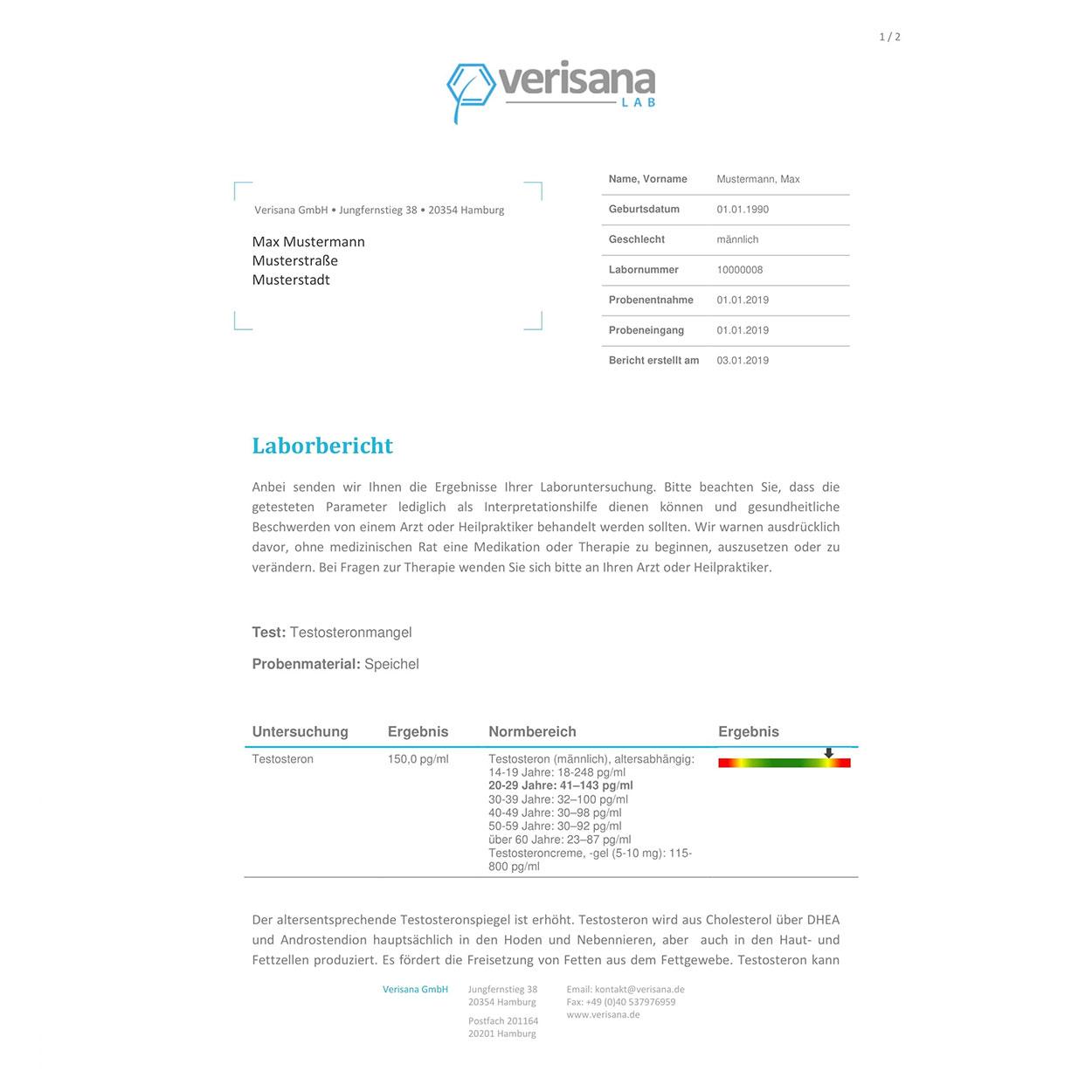 Testosteron Speicheltest, Labormusterbefund Seite 1