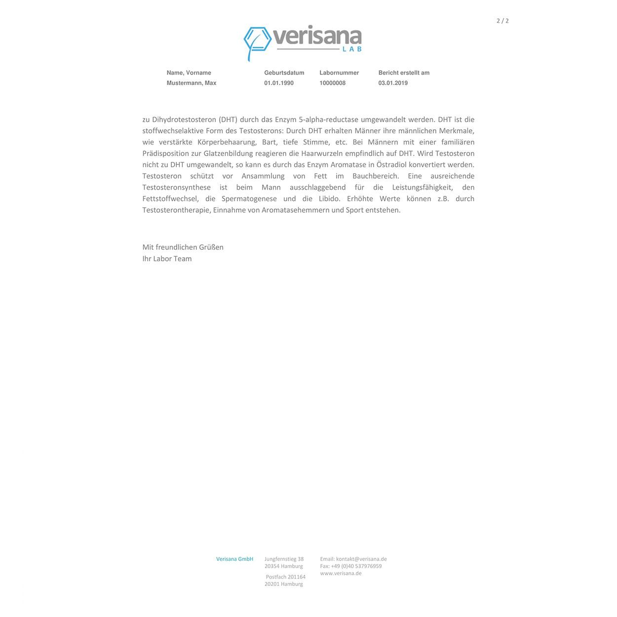 Testosteron Speicheltest, Labormusterbefund Seite 2