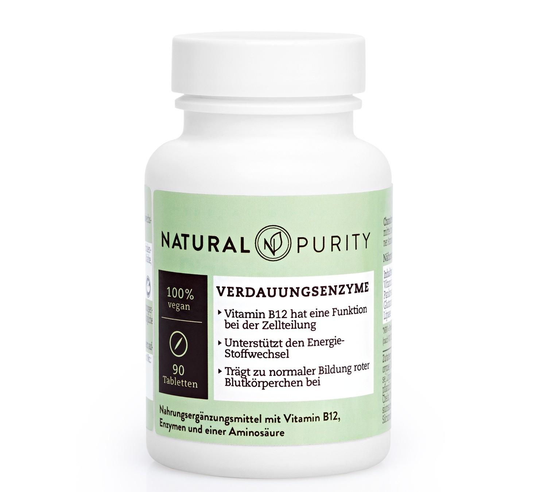 Verdauungsenzyme, Nahrungsergänzungsmittel mit Vitamin B12, Enzymen und Aminosäuren